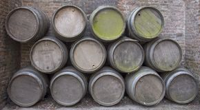 Wine barrel. Old wine barrels Stock Photography