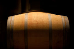 Wine barrel in an aging cellar Stock Photography