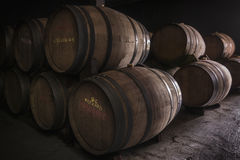 Wine barrel. Barrels stocked in a cellar Stock Images
