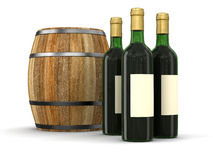 Wine barrel and bottle (clipping path included) Stock Photo