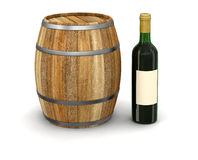 Wine barrel and bottle (clipping path included) Stock Photos