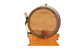 wine barrel and bottle on white Royalty Free Stock Images
