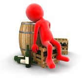 Wine barrel, bottles and man (clipping path included) Stock Image