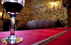 Wine barrel cellar Royalty Free Stock Photos