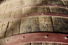 Wine Barrel. Close up of a Wine Barrel at a winery in Ica, Peru royalty free stock photo