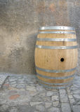 Wine barrel on cobblestone.  Royalty Free Stock Photos