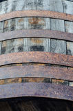 Wine barrel detail. Detail of an old wine barrel made in wood and metal stock photography