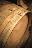 Wine barrel detail. In underground winery royalty free stock photos