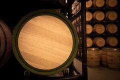 Wine barrel front in an aging cellar. In Ribera del Duero area, Spain Royalty Free Stock Image