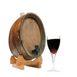 Wine Barrel and Glass of Port. Isolated Over White stock photos