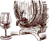 Wine barrel and glass Stock Photo