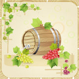 Wine barrel with grapes Stock Photos