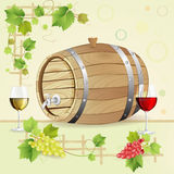 Wine barrel with grapes Royalty Free Stock Photos