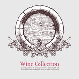 Wine barrel with grapes wreath. Stock Image