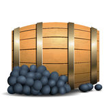 Wine barrel and grapevine on white background Royalty Free Stock Image