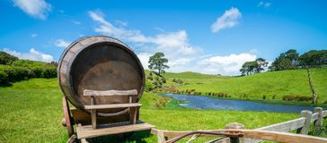 Wine Barrel in Green Grass Field. Wine barrel on cart against green grass field in countryside agriculture landscape background. Organic food, winery and alcohol royalty free stock photography