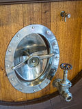 Wine barrel hardware. Huge wine barrel and hardware, commercial winery royalty free stock photography