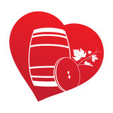 Wine barrel inside heart frame Royalty Free Stock Image