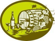 Wine barrel ith grape vine fruit Royalty Free Stock Photos