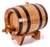 Wine barrel with legs and cork on top Stock Images