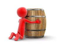 Wine barrel and man (clipping path included) Stock Photo
