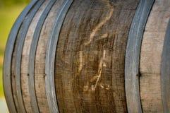 Wine Barrel in Napa Vineyard. Wine Barrel with Vineyard in Background royalty free stock photo