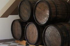 Wine barrel. Old wine barrel with wine royalty free stock photography