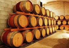 Wine barrel storage area Royalty Free Stock Images