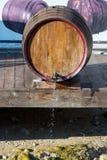 Wine barrel in the street in the town of Melnik Bulgaria Stock Photo