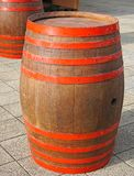 Wine barrel on the street. In summer royalty free stock images