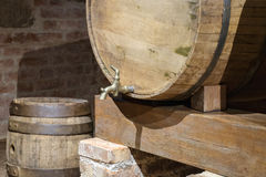 Wine barrel with a tap Royalty Free Stock Photo
