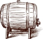 Wine barrel. Vector image of a sketch of an old wine cask Stock Photos