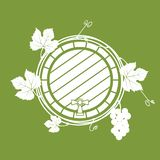A wine barrel with a vine. Vector. A wine barrel with a vine. White monochrome vector illustration on a green background royalty free illustration