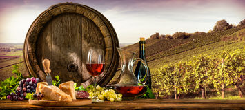 Wine barrel on vineyard. Barrel with glas of red wine and cheese on vineyard Stock Photography
