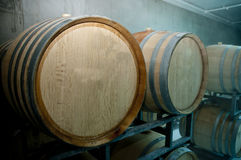 Wine Barrel at Wine Cellar. In the factory Royalty Free Stock Photography