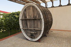 Wine barrel in the wine cellar photo.  Royalty Free Stock Images