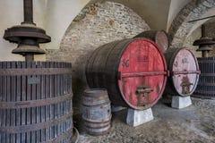 Wine Barrel and Winepress Piedmont Royalty Free Stock Photos