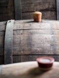 Wine barrel. With wooden bung in the Kakheti wine region, Georgia, Caucasus stock image