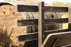 Wine barrel. Wooden texture. Outdoor. Metalic. Vintage wine barrel, wooden texture. Brown and orange colors. Metalic. Outdoor, sunlight royalty free stock images