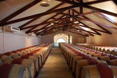 Wine barrels. Rows of barrels of wine stock photo