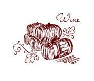 Wine barrels. Graphic illustration with wine barrels royalty free illustration