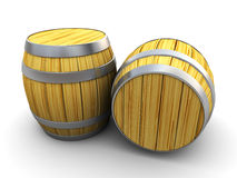 Wine barrels. 3d illustration of two wine barrels over white background Royalty Free Stock Photo