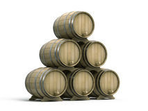 Wine barrels. On white background Stock Image