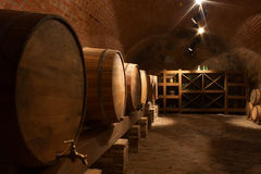 Wine barrels in cellar Royalty Free Stock Photo