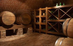 Wine barrels. In the a wine cellar Stock Photos