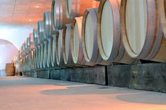 Wine barrels. In a cave in Bordeaux - France Stock Photography