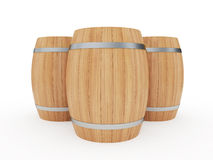 Wine barrels. 3d illustration of a group of wine barrels  on white Royalty Free Stock Image