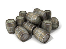 Wine barrels. Wooden wine barrels in disorder Stock Image