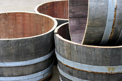 Wine Barrels. Empty wine barrels at a winery, Hunter Valley, Australia Stock Images