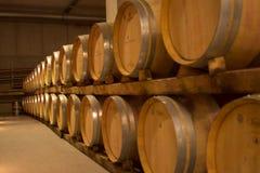 Wine barrels. Row of big wooden wine barrels in cavern. Saxony, Germany Stock Photos